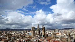 Beautiful clouds, Cathedral of Santa Eulali and aerial Barcelona time lapse Stock Footage