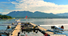 Wide Angle view of Sea Plane Terminal, Vancouver Harbour, Canada Stock Footage