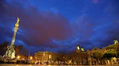 Columbus Monument at Portal de la Pau square, nightfall time lapse Stock Footage