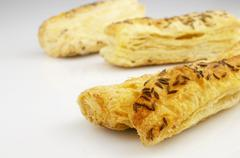 Puff pastry, with caraway seeds - stock photo