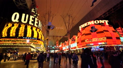 Downtown Las Vegas by night - Fremont street Stock Footage