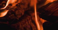 Flames of fire wood macro shot slow motion 4k Stock Footage