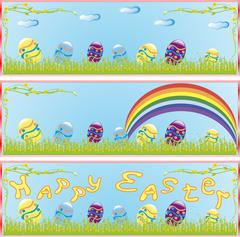 contains the image of the Easter banner with flowers and eggs - stock illustration