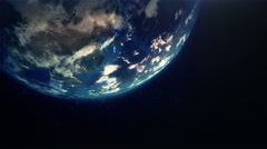 Earth rotation with light lens flare. Stock Footage