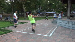 Vietnam sports, leisure activities, fitness, playing traditional game in Hanoi Stock Footage