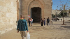 Walking to Jaffa Gate Stock Footage