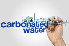 Carbonated water word cloud Stock Photos