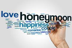 Honeymoon word cloud Stock Photos
