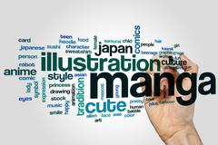 Manga word cloud - stock photo
