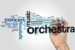 Orchestra word cloud Stock Photos