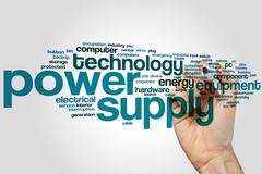Power supply word cloud Stock Photos