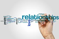 Relationships word cloud - stock photo