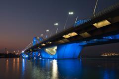 Sheikh Zayed Bridge at night, Abu Dhabi, UAE Stock Photos