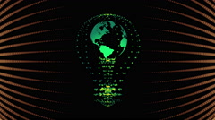 Bulb with the world inside, concept design. digital animation. Stock Footage