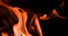 Stock Video Footage of Inferno of flames in fire pit macro shot 4k
