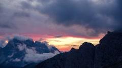 Dolomites at sunset - 4K time lapse - stock footage