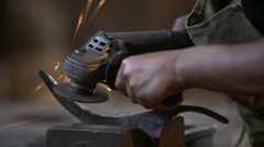 Worker With Grinder Stock Footage