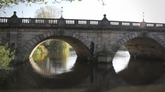 Old English Bridge Over The River Severn In Shrewsbury, England. Stock Footage
