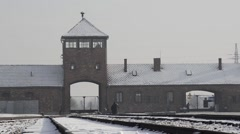 The gate to the camp, prisons in Europe Stock Footage