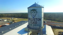 Williston SC Elko Blue Devils Water Tower Aerial Rise Stock Footage