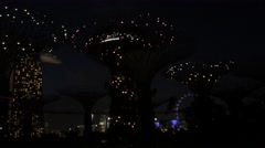 Stock Video Footage of Supertree Grove light show