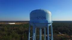 Williston SC Water Tower Aerial Fly around Stock Footage