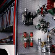 Water nozzles in fire-engine Stock Photos