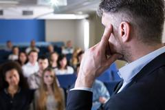 Who will ask the first question? - stock photo