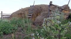 Haystack, Wooden Staircase attached to it Stock Footage