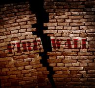 Firewall breach - stock photo