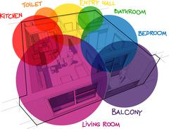 Apartment diagram with hand drawn notes and zone bubbles - stock illustration