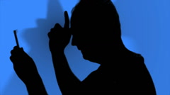 Man Silhouette Dancing On Blue - stock footage
