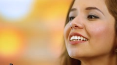 Hispanic model headshot using e-cigarette Stock Footage