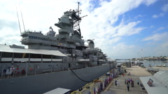 Side view of Uss Missouri battleship - Pearl harbor Stock Footage