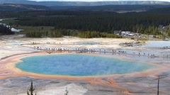 Aerial view of Grand Prismatic Spring in Midway geyser basin, Yellowstone Nat - stock footage