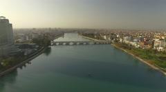 Aerial Footage of The Ancient Stone Bridge Adana Turkey Stock Footage