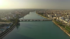 Aerial Footage of The Ancient Stone Bridge Adana Turkey Stock Footage