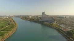 Aerial footage of Seyhan River and Adana skyline Stock Footage