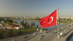 Turkish flag and Adana Big Mosque on the background Stock Footage