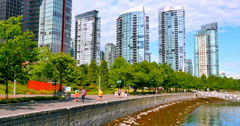 4K Walking Path along Coal Harbour Waterfront, Vancouver Canada Stock Footage
