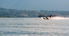 4K Twin Otter Sea Plane Water Landing, North Vancouver, BC Canada Stock Footage