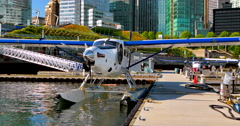 4K Sea Plane with Vancouver Skyline in Background, BC Canada Stock Footage