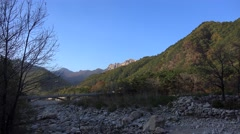 Bridge over dry rocky river in Seoraksan National Park at autumn. Sokcho, Stock Footage