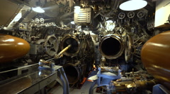 Torpedo tubes on the USS Bowfin submarine - Pearl Harbor memorial Stock Footage