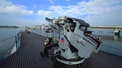 Big anti aircraft gun on Uss Bowfin submarine - Pearl Harbor Stock Footage