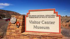 Visitor Center Sign at Pipe Spring National Monument - stock photo