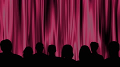 Audience in front of a deep pink theater curtain Stock Footage