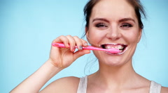 Woman brushing cleaning teeth 4K Stock Footage