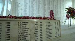 Arizona memorial names wall - Pearl Harbor, Hawaii - stock footage
