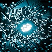 Social icon on computer chip - stock photo